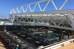 Retractable roof over main pool on Viking Sea