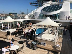 Sunny day on the Seabourn deck