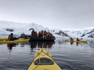 Getting into kayak from zodiac